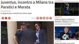 Así informó la web de Premium Sport HD del encuentro en Milán