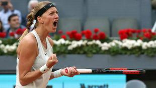 Petra Kvitova tras ganar un partido del Mutua Madrid Open 2018.