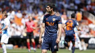 Guedes, en el último partido del Valencia en Mestalla.