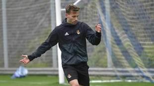 Canales, en un entrenamiento con la Real Sociedad.