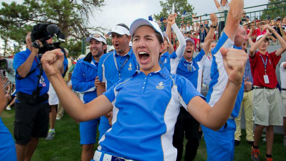 Carlota Ciganda celebra el triunfo de Europa en la Solheim Cup de...