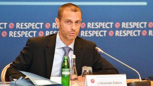 Aleksander Ceferin, en la reunión de UEFA.