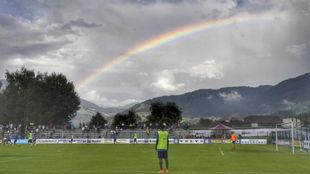 Entrenamiento del Inter en Brunico, durante el verano de 2017.