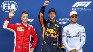 Vettel, Ricciardo y Hamilton.