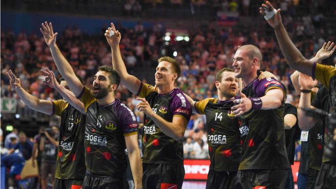 Los jugadores del Nantes celebran su clasificación para la final.