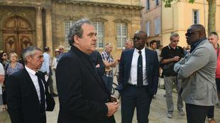 Platini, durante el funeral de Henri Michel.