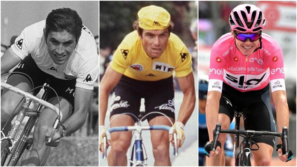 Eddy Merckx, Bernard Hinault y Chris Froome.