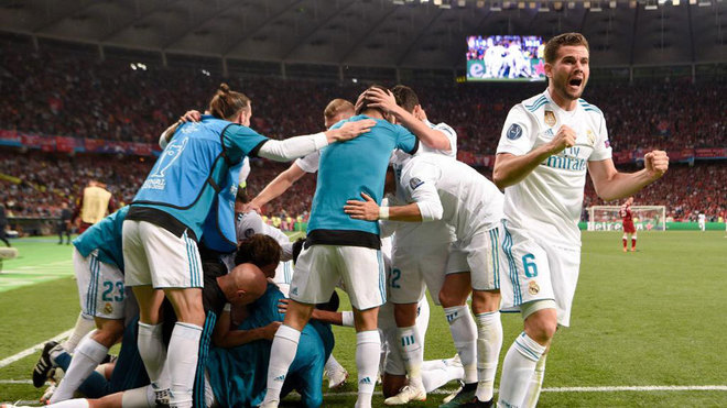 Nacho and teammates celebrate after Benzema scored a goal during the...