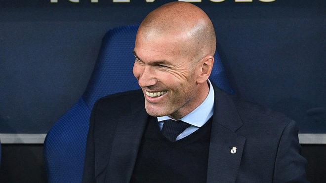 Zinedine Zidane smiles during the Champions League final