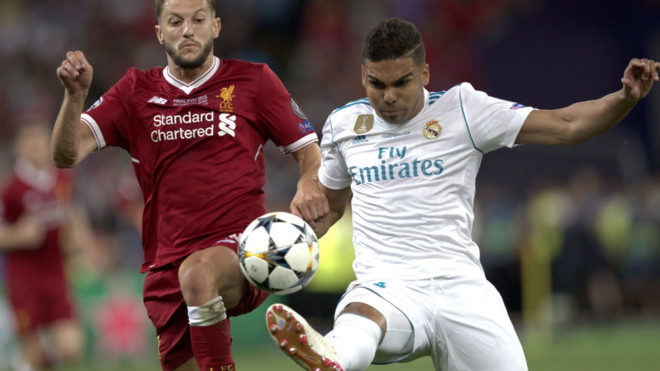 Casemiro and Adam Lallana in action during the Champions League final