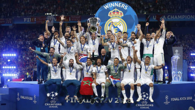 Real Madrid players celebrate after the team won the Champions League...
