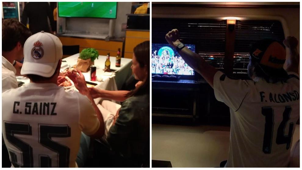Carlos Sainz y Fernando Alonso, siguiendo el partido del Real Madrid