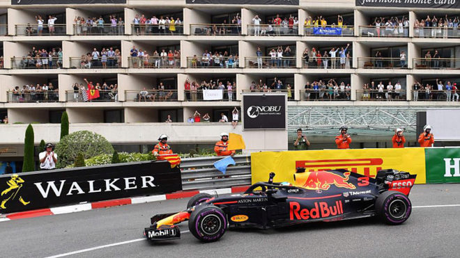 Daniel Ricciardo celebrates winning the Monaco Formula 1 Grand Prix