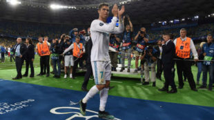Ronaldo applauds supporters after the UEFA Champions League final.