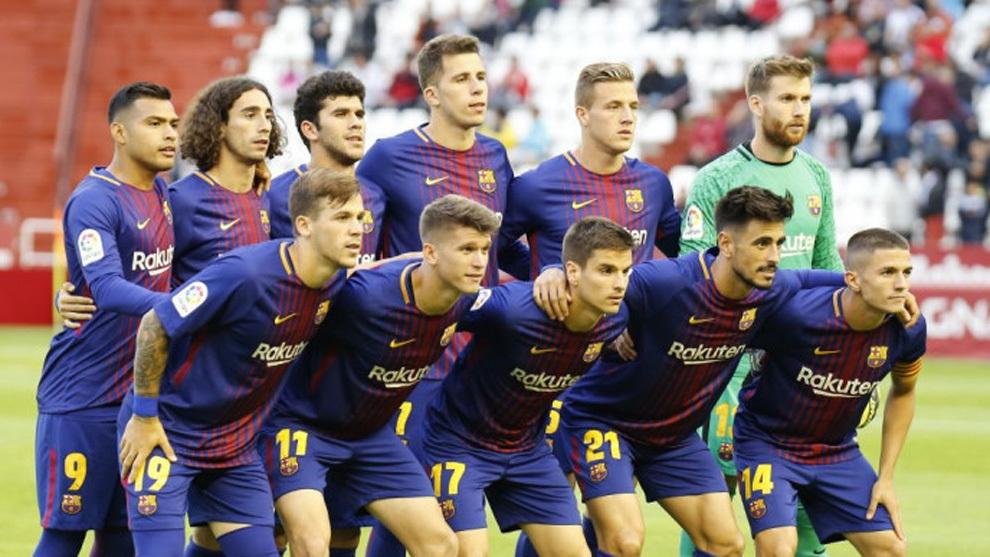 El once titular del Barça B que acaó descendiendo en Albacete