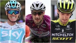 Froome, Viviani y Nieve durante el Giro de Italia 2018.