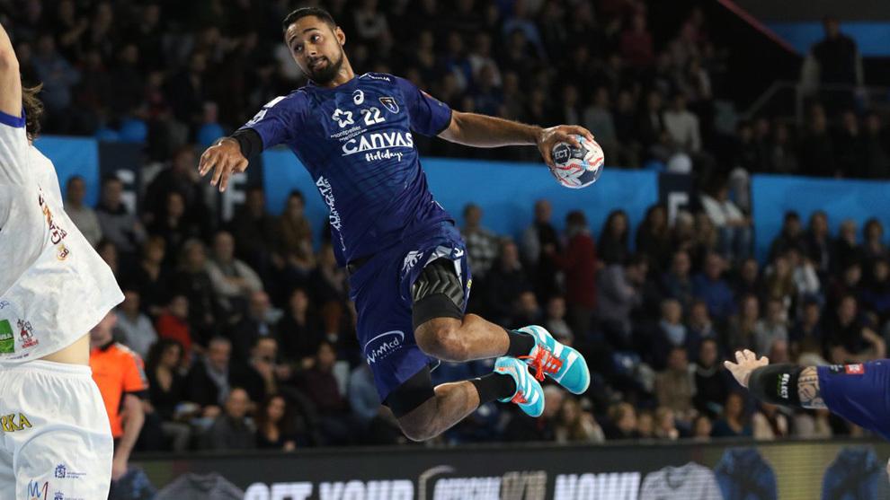 Melvyn Richardson durante un partido de Champions con el Montpellier