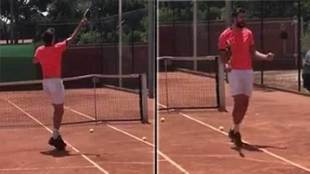 Pique shows off his tennis potential