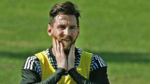Messi, en un entrenamiento con argentina