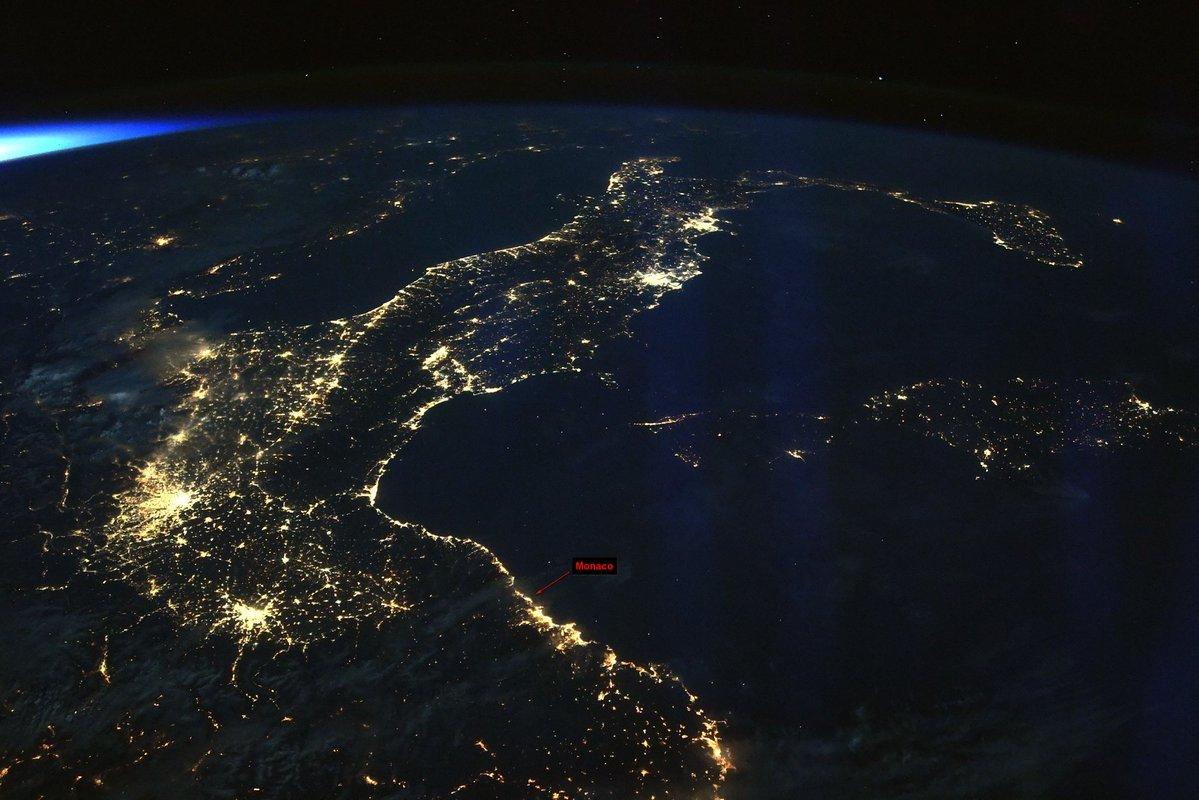 Imagen de Mónaco compartida desde el espacio por el astronauta  Dr....