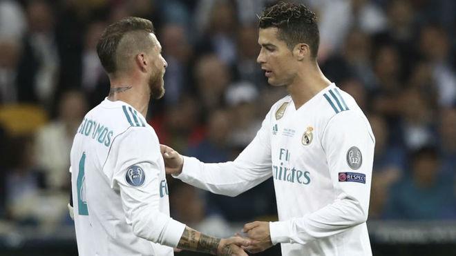 Sergio Ramos talks with Cristiano Ronaldo during the Champions League...