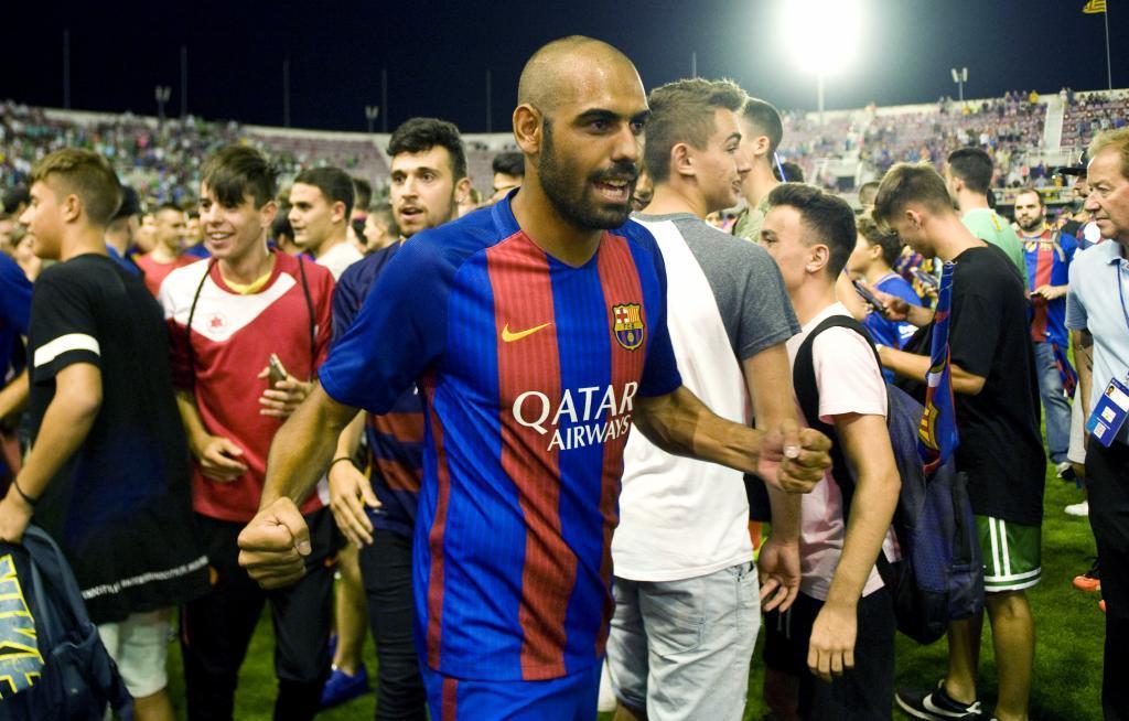 Fali, con la camiseta del Barça