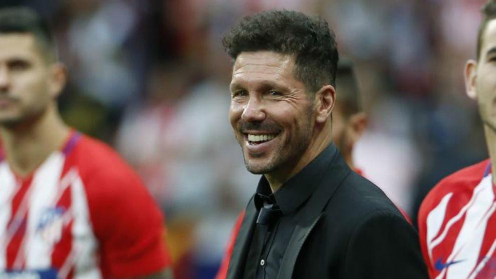 Simeone, durante la despedida de Torres.