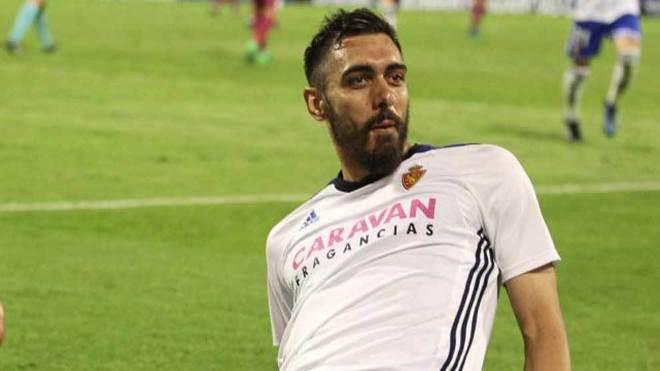 Borja Iglesias celebra un gol con el Zaragoza.