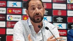 Machín, en la rueda de prensa de su despedida del Girona.