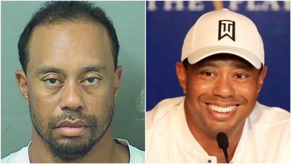 Así ha cambiado la cara de Tiger Woods en un año.
