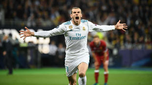 Bale celebra uno de sus goles logrados en la final de Kiev.