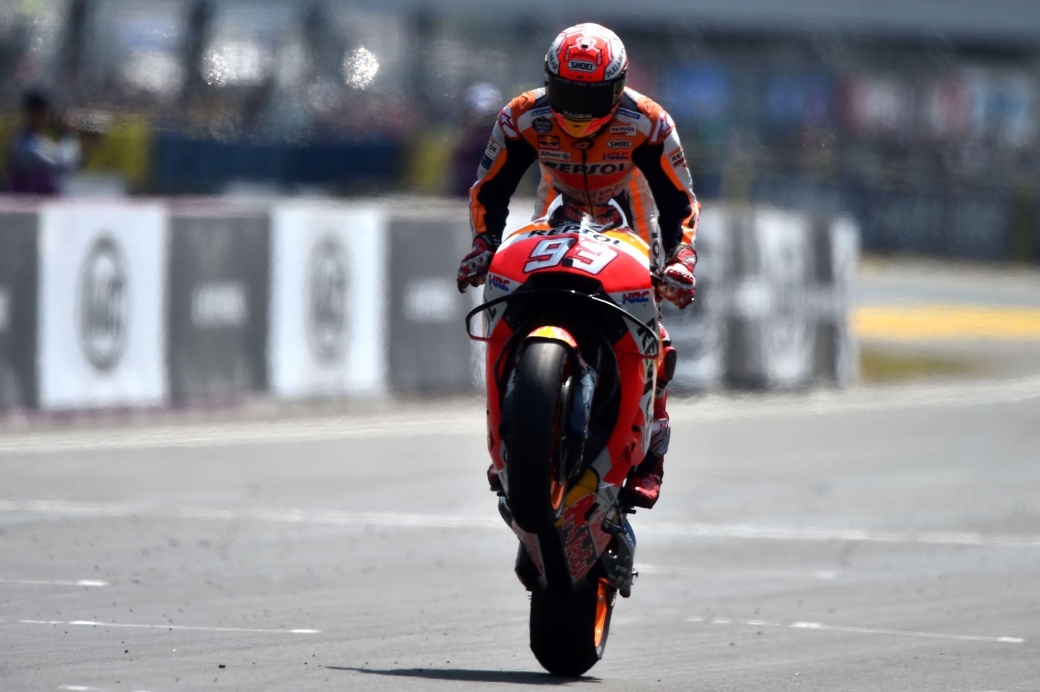 Márquez, en el momento de su victoria en Le Mans