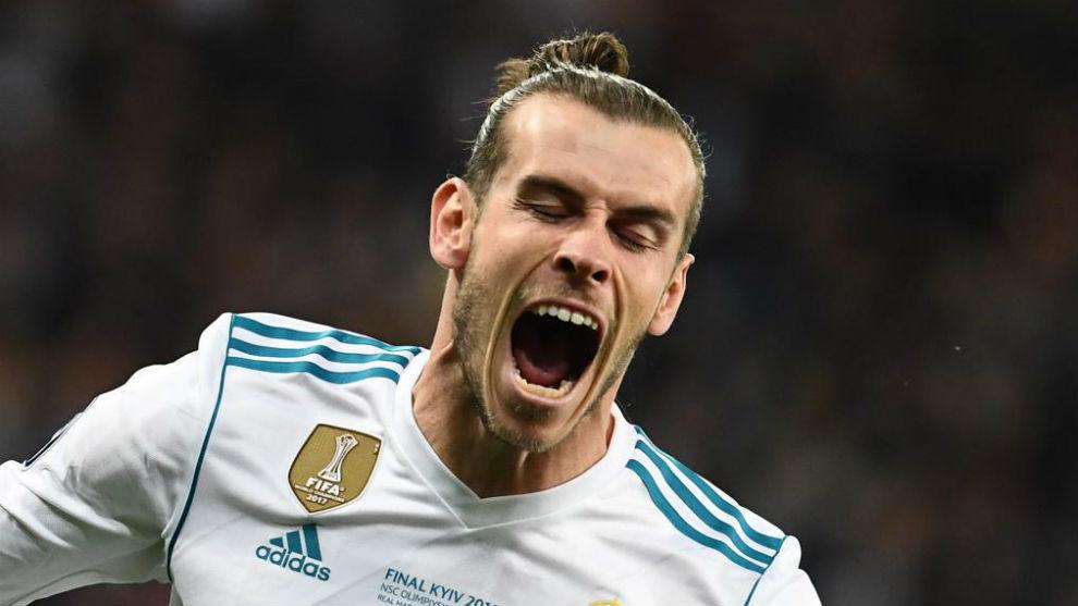 Bale celebra uno de los goles logrados en la final de Kiev.