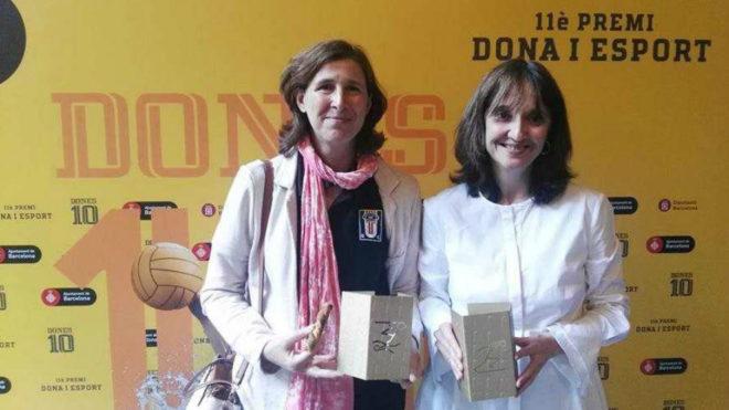 Lola García con la presidenta del BUC, Mercè Pérez Quintana