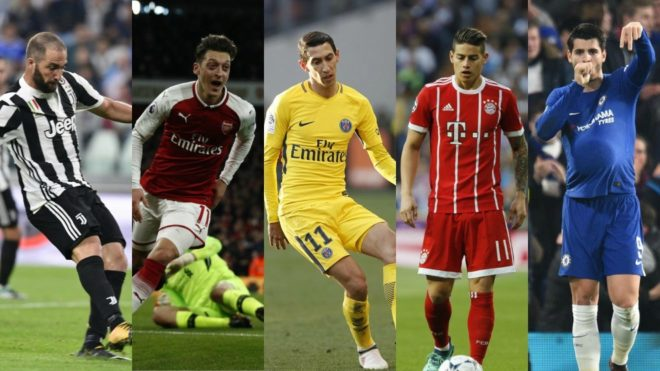 Gonzalo Higuain Mesut Ozil Angel Di Maria James Rodriguez and