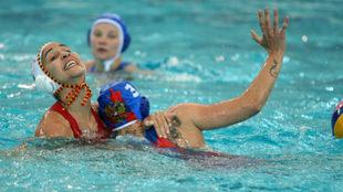 Un lance del partido de cuartos entre España y Rusia.