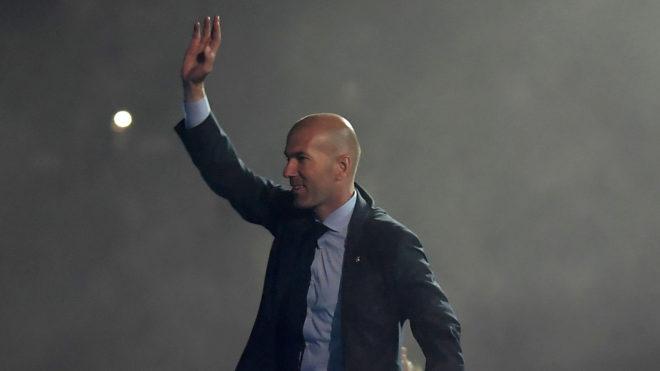 Zinedine Zidane, durante la fiesta de despedida.
