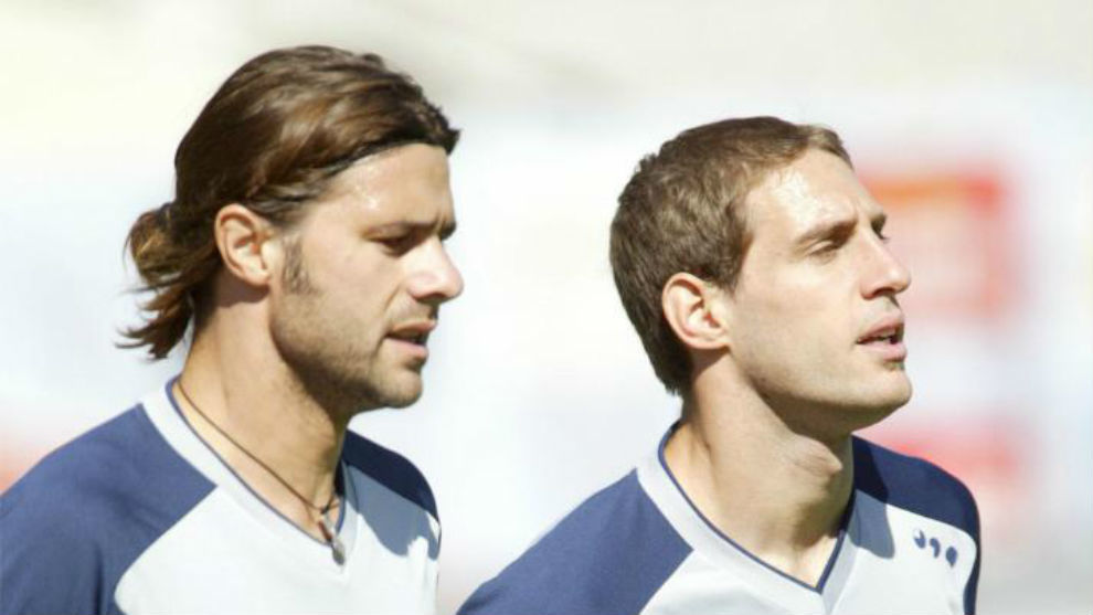Pochettino y Zabaleta, durante su etapa en el Espanyol.