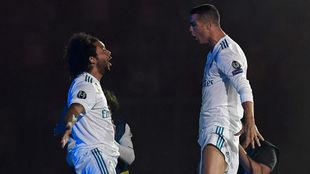 Marcelo y Cristiano Ronaldo durante la celebración en el Bernabéu.