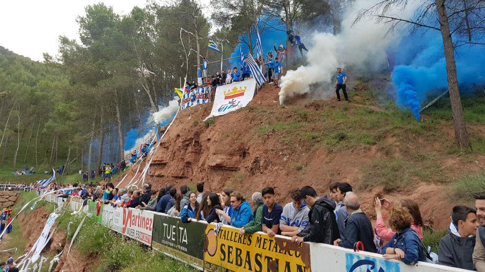 La Salera, estadio del Náxara durante el choque ante el Langreo