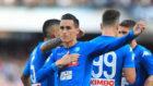 Callejón celebra un gol con en Nápoles