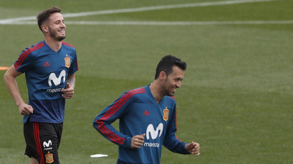 Sergio Busquets durante un entrenamiento con la selección española