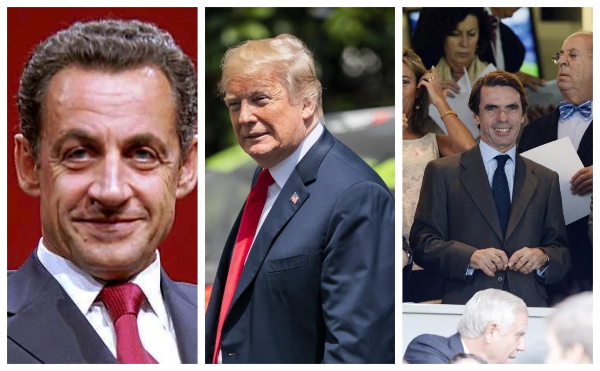 Nicolás Sarkozy, Donald Trump y José María Aznar