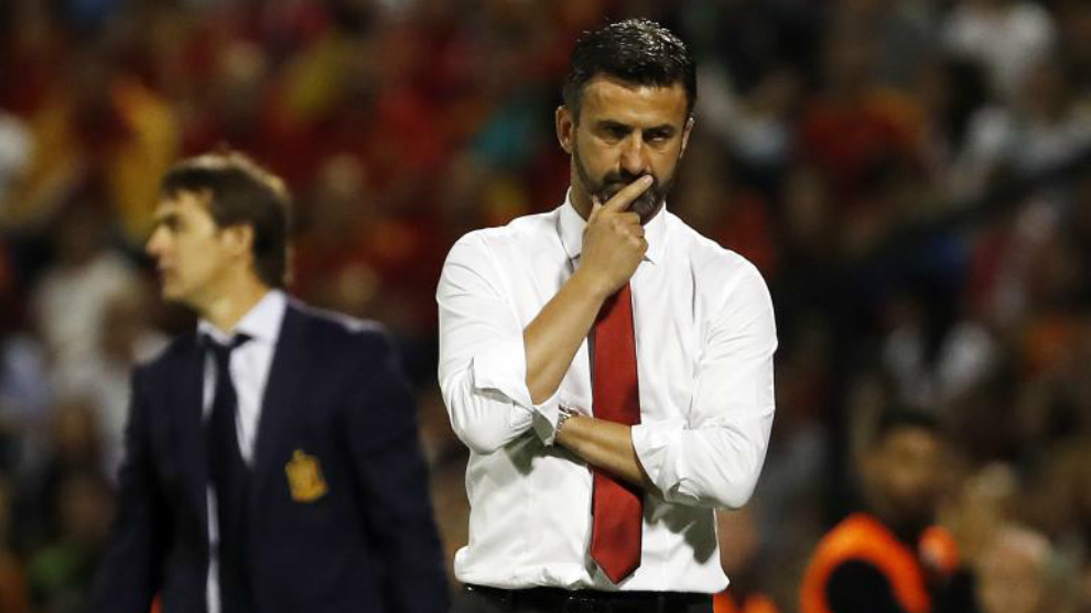 Cristian Panucci, en un partido de la selección de Albania contra...
