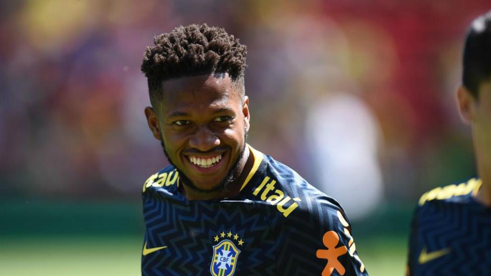 Fred durante un entrenamiento con Brasil