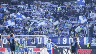 La afición del Málaga en un partido de la pasada temporada.