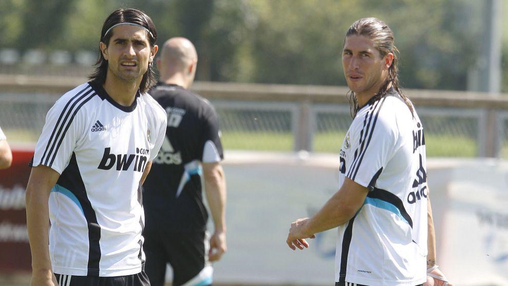 Rubén de la Red junto a Sergio Ramos en su etapa en el Real Madrid