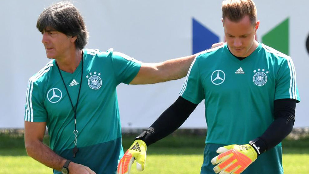 Germany's head coach Joachim Low and goalkeeper Marc-Andre ter Stegen.