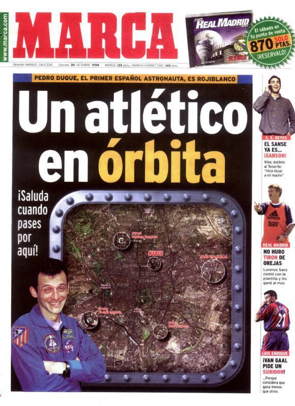 Portada que le dedicó el diario MARCA a Pedro Duque el 30 de octubre...