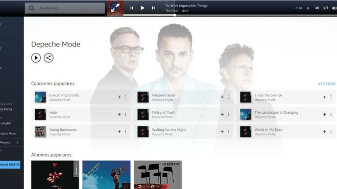 Aspecto de la interfaz de Amazon Prime Music con la búsqueda de...